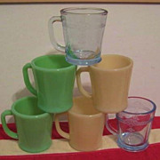 6 Fire King Mugs - all BLOCK Letters - Jadeite Ivory Sapphire