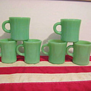 6 Fire King Jadeite Restaurant Ware Mugs - 2 Chocolate, 2 Extra Heavy, 2  Heavy