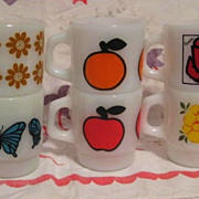 6 Fire King Mugs - Flowers  Apples Oranges &  Butterflies