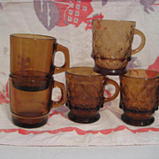 5 Fire King Amber Mugs including Light Amber Kimberly