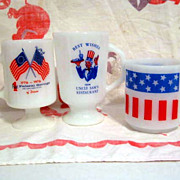 3 Red White & Blue Flag Mugs - Fire King Federal Glasbake