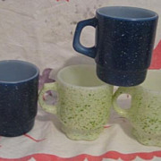 4 Fire King Splatter Ware Mugs