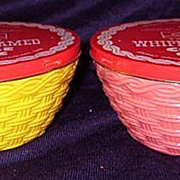 2 Fire King Basketweave Sealtest Cottage Cheese Bowls with Original Metal Lids- Pink Yellow  H