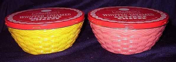 2 Fire King Basketweave Sealtest Cottage Cheese Bowls with Original Metal Lids- Pink Yellow  HTF