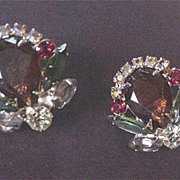Vintage Costume Jewelry Vendome Rhinestone Earrings
