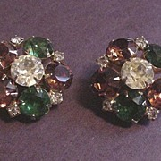 Vintage Costume Jewelry Large Hobe Rhinestone Earrings