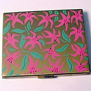 Pink and Green Enameled Flowers Powder Compact