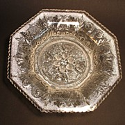 SALE Sandwich Lacy Flint Beehive and Thistle Octagonal Dish