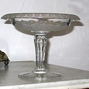 SALE Nineteenth Century Cut and Frosted Compote
