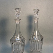 Pair of Flint Pressed Glass Decanters ca. 1850