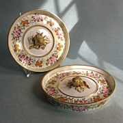 Pair of Porcelain Fruit Cooler Lids circa 1820