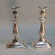 Pair Nineteenth Century Silverplate Candlesticks