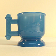 Atterbury Small Translucent Blue Glass Mug ca. 1885