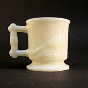"1880's Milk Glass ""Peacock and Heron"" Toy Mug"