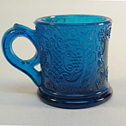 Blue Pressed Glass Child's Mug