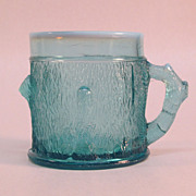Opalescent Blue Pressed Glass Tree Trunk Mug