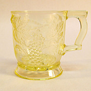 Vaseline Pressed Glass Mug with Grape Pattern