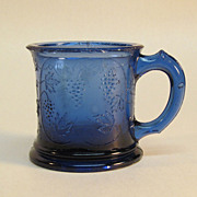 Cobalt Blue Pressed Glass Grape Pattern Child's Mug