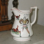 Clown and Cockfight Ironstone Puzzle Jug Circa 1860