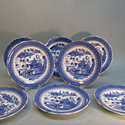 "Set Eight English ""Canton Willow"" Pattern Plates circa 1845"