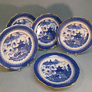 "Set Six English ""Canton Willow"" Pattern Plates circa 1845"