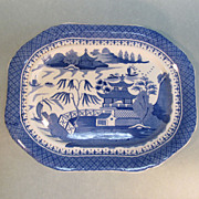 English &quot;Canton Willow&quot; Pattern Platter circa 1845
