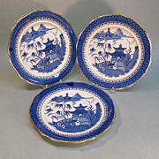 "Three English ""Canton Willow"" Pattern Plates circa 1845"