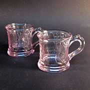 Pair Grape and Festoon Pressed Glass Toy Mugs