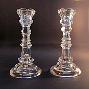 Pair Flint Candlesticks with Metal Inserts ca. 1865