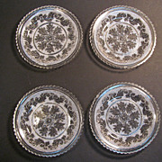 Set of Four Lacy Sandwich Flint Glass Plates ca. 1835-45