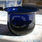 Early Blown Glass Cobalt Blue Bowl