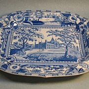 Staffordshire Blue and White Platter �Angus Seats�