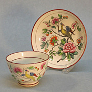 Creamware Printed Tea Bowl and Saucer