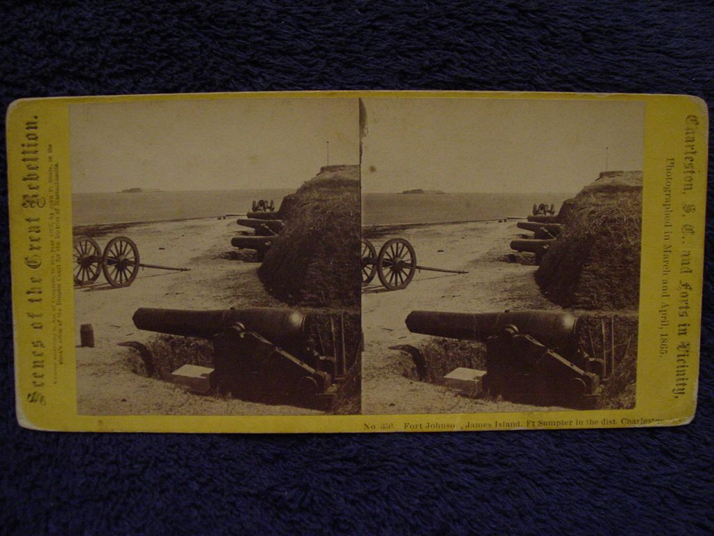 1865 Civil War FORT JOHNSON John P Soule Stereoview James Island, Charleston, SC Ft Sumter in Distance