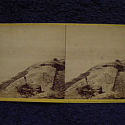 1865 Civil War FORT SUMTER Parapet John P Soule Stereoview Charleston, SC Toward Morris Island