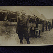 WWI US ARMY Base/Camp w/Squad Tents, Bunks, Washbasin SOLDIER Portrait PHOTO Snapshot