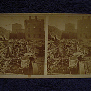 1877 RAILROAD WAR Pittsburgh, PA S.V.Albee Stereoview Panhandle Tunnel Train Wreck & Fire Ruin