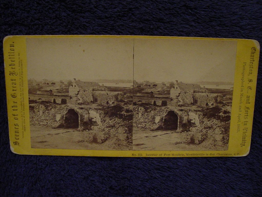 1865 Civil War FORT MOULTRIE Sally Port & Ruins John P Soule Stereoview Charleston, SC Moultrieville in Distance