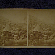 1877 RAILROAD WAR Pittsburgh, PA S.V.Albee Stereoview Roundhouse Fire Ruins & Steam Engine/Loc