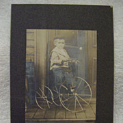 1880-1910's Young Boy PRIMITIVE Early TRICYCLE w/Spoke Wheels Studio Portrait PHOTO Cabinet Ca