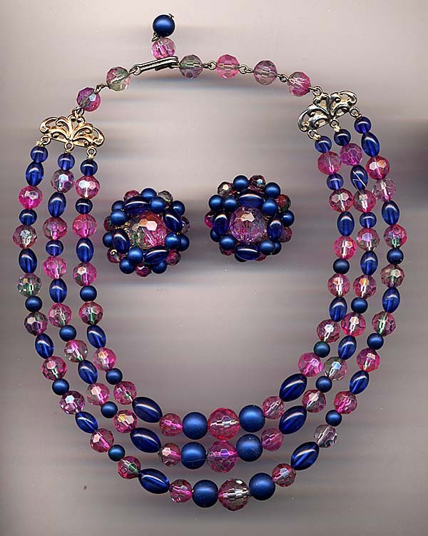 Signed Karu Arke Pink & Blue Variegated Bead Necklace & Earrings