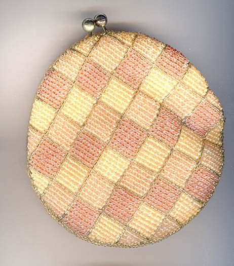 Hand Beaded Checker Board Coin Purse