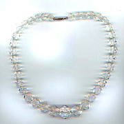 Large Faceted Crystal Necklace with 14K White Gold Clasp & Earrings