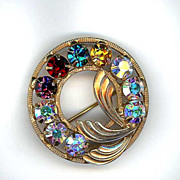 Multi Colored Rhinestone Circle Pin