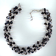 Black and Clear Faceted Lucite Tab Necklace