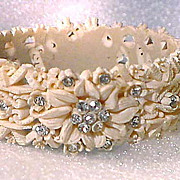Beautiful Floral Celluloid Clamper Bracelet with Rhinestones