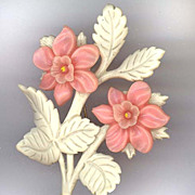 "Beautiful Carved Celluloid Pin With Pink Flowers and Old ""C"" Clasp"