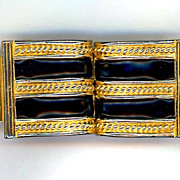 1975 Signed Mimi De Nicola Gold Metal and Black Enamel Belt Buckle