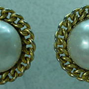 Edouard Ramboug Pearl and Gold Tone Earrings, 1970's.