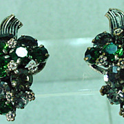 Beautiful Made in Austria Rhinestone Clip -On Earrings 1950s.